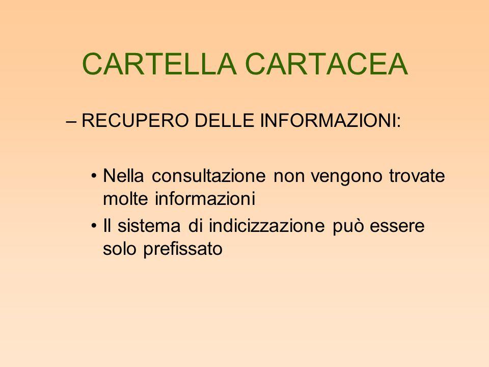 CARTELLA CARTACEA –RECUPERO DELLE INFORMAZIONI: Nella consultazione non vengono trovate molte informazioni Il sistema di indicizzazione può essere sol