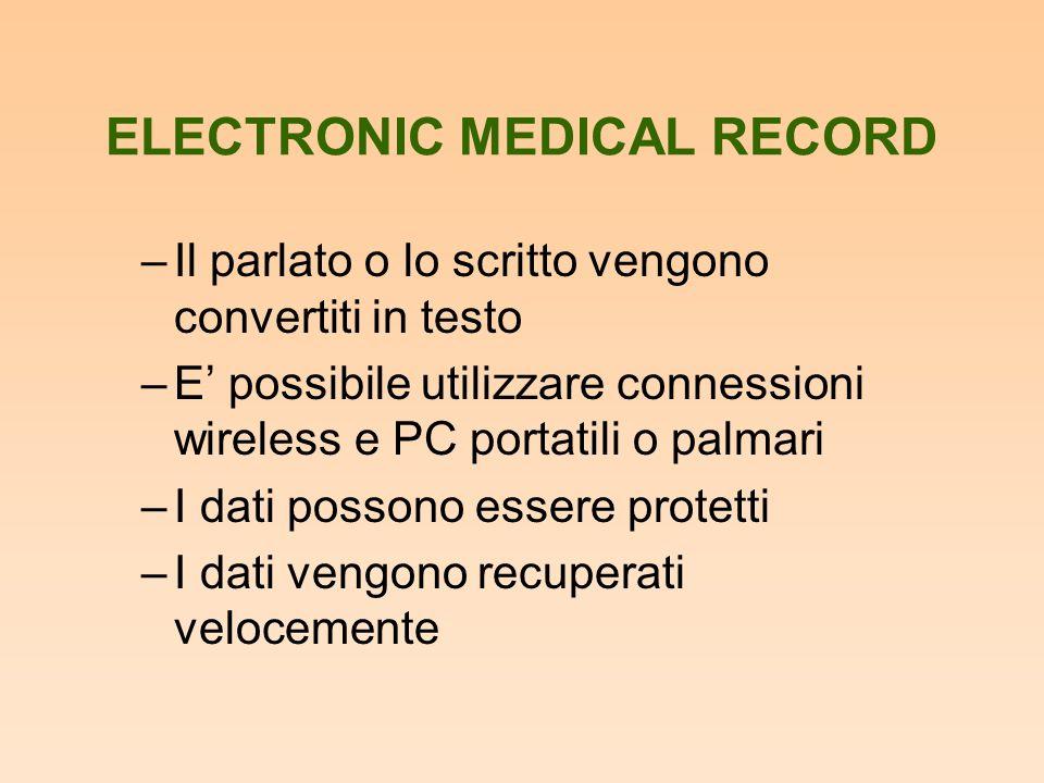 ELECTRONIC MEDICAL RECORD –Il parlato o lo scritto vengono convertiti in testo –E' possibile utilizzare connessioni wireless e PC portatili o palmari