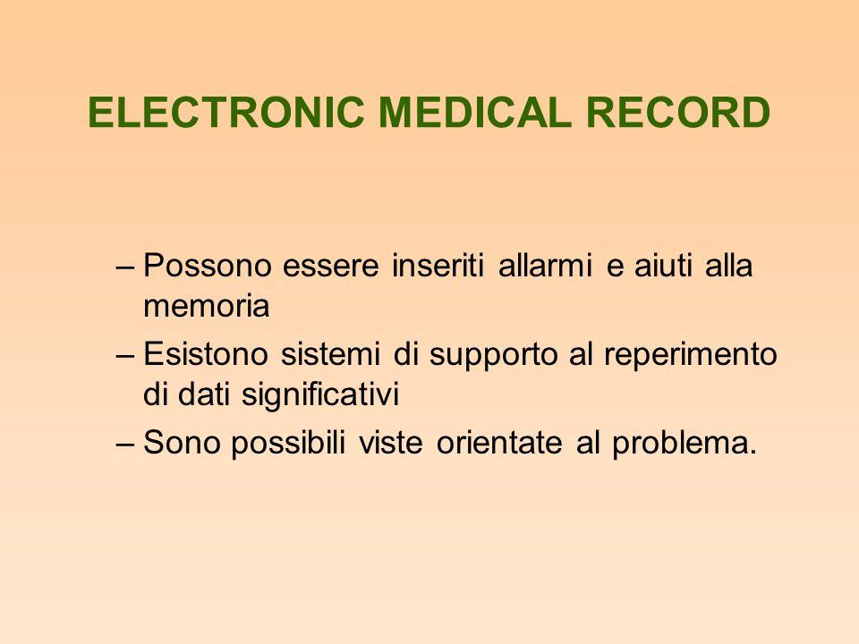 ELECTRONIC MEDICAL RECORD –Possono essere inseriti allarmi e aiuti alla memoria –Esistono sistemi di supporto al reperimento di dati significativi –So