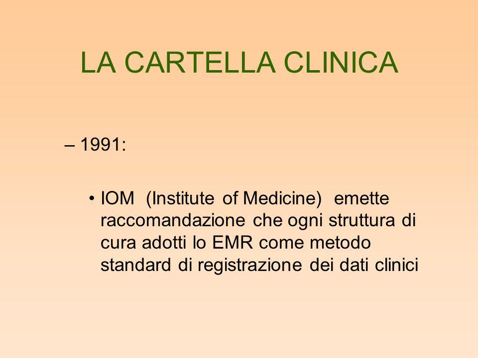 LA CARTELLA CLINICA –1991: IOM (Institute of Medicine) emette raccomandazione che ogni struttura di cura adotti lo EMR come metodo standard di registr