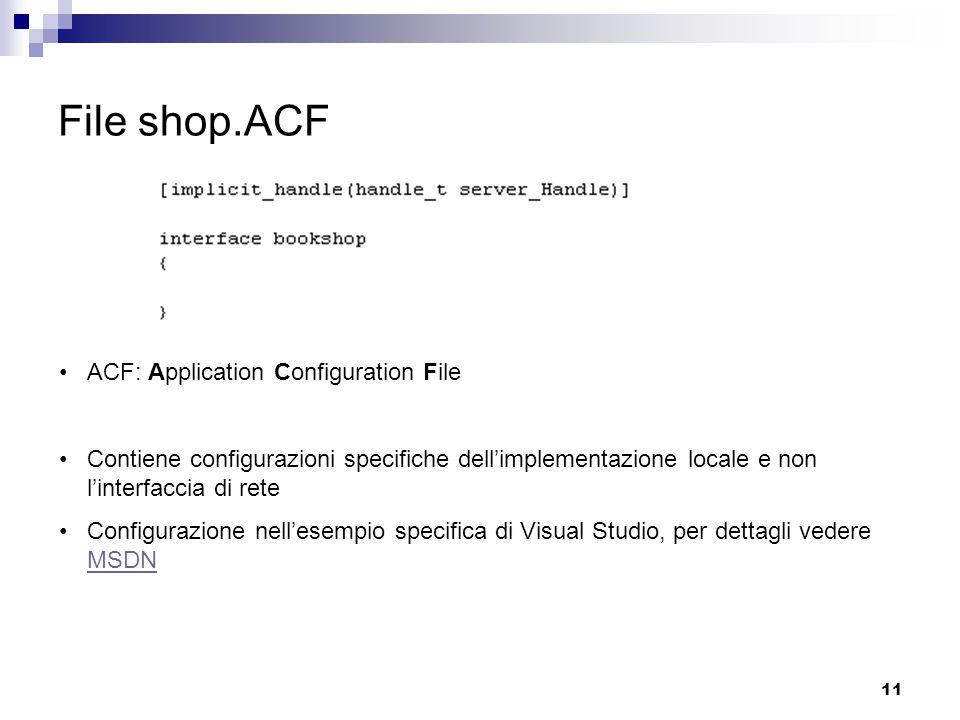 11 File shop.ACF ACF: Application Configuration File Contiene configurazioni specifiche dell'implementazione locale e non l'interfaccia di rete Configurazione nell'esempio specifica di Visual Studio, per dettagli vedere MSDN MSDN