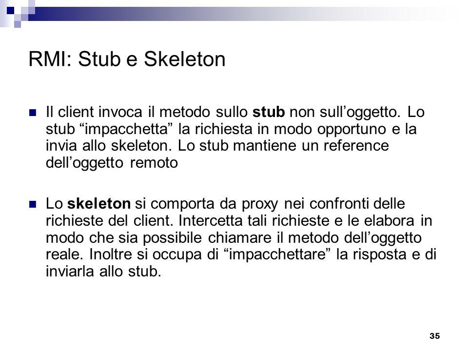 35 RMI: Stub e Skeleton Il client invoca il metodo sullo stub non sull'oggetto.