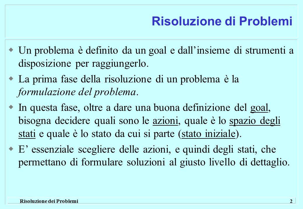 Risoluzione dei Problemi 2 Risoluzione di Problemi  Un problema è definito da un goal e dall'insieme di strumenti a disposizione per raggiungerlo. 