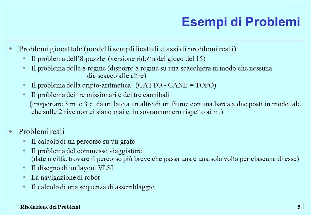 Risoluzione dei Problemi 5 Esempi di Problemi  Problemi giocattolo (modelli semplificati di classi di problemi reali):  Il problema dell'8-puzzle (v
