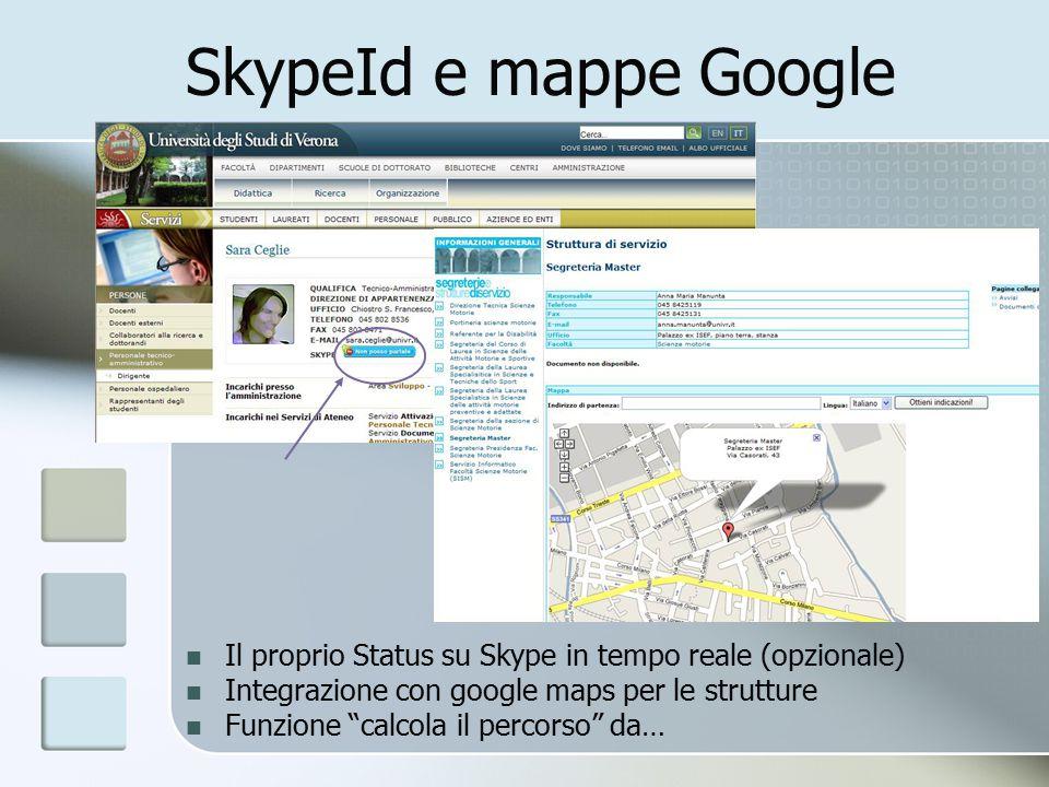 SkypeId e mappe Google Il proprio Status su Skype in tempo reale (opzionale) Integrazione con google maps per le strutture Funzione calcola il percorso da…