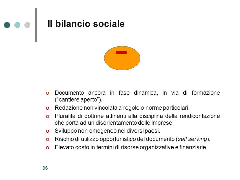 35 + Il bilancio sociale Strumento per valutare e rendere conto periodicamente dei risultati dell'attività aziendale nella loro dimensione sociale, ambientale ed etica.