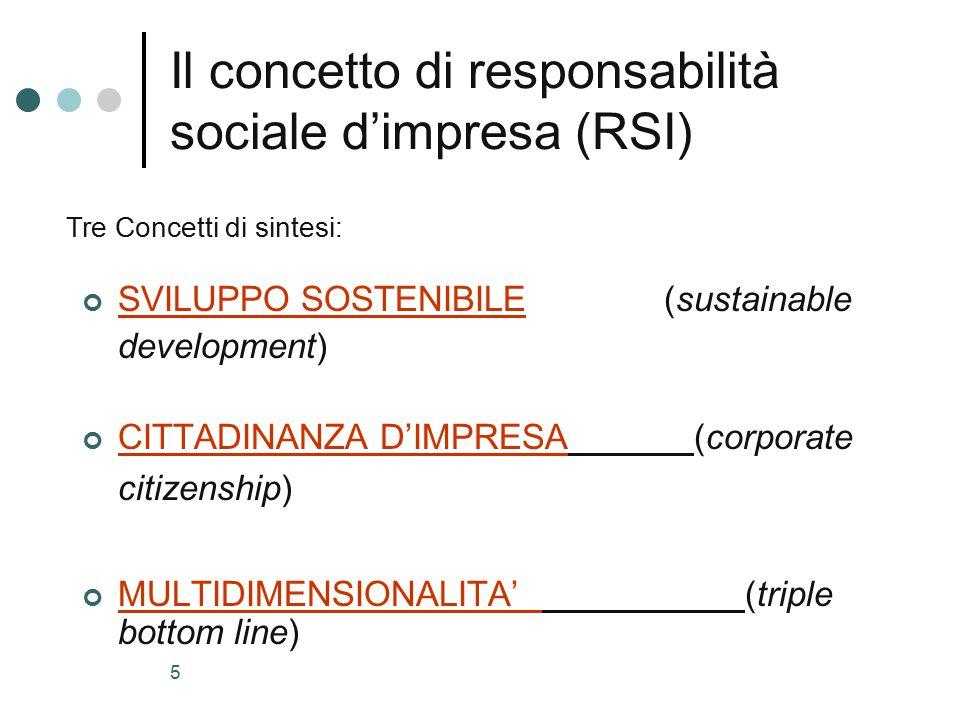 5 Il concetto di responsabilità sociale d'impresa (RSI) SVILUPPO SOSTENIBILE (sustainable development) CITTADINANZA D'IMPRESA (corporate citizenship) MULTIDIMENSIONALITA' (triple bottom line) Tre Concetti di sintesi:
