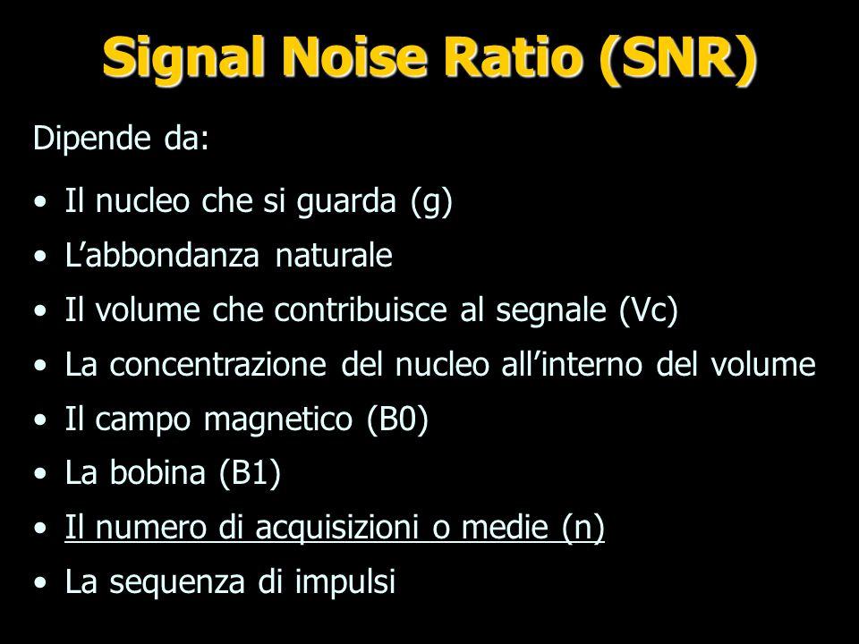 S = Area picco massimo Calcolo SNR SNR= Signal/Noise dev.