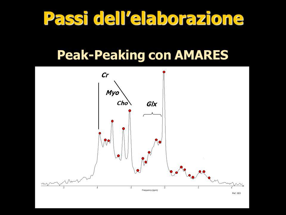 Risultato Amares A bassi TE non è possibile valutare il segnale delle macromolecole che comporterà un errore nella valutazione dei metaboliti Macromolecole