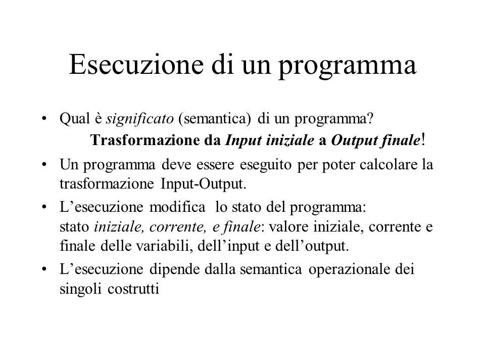 Esecuzione di un programma Qual è significato (semantica) di un programma? Trasformazione da Input iniziale a Output finale ! Un programma deve essere
