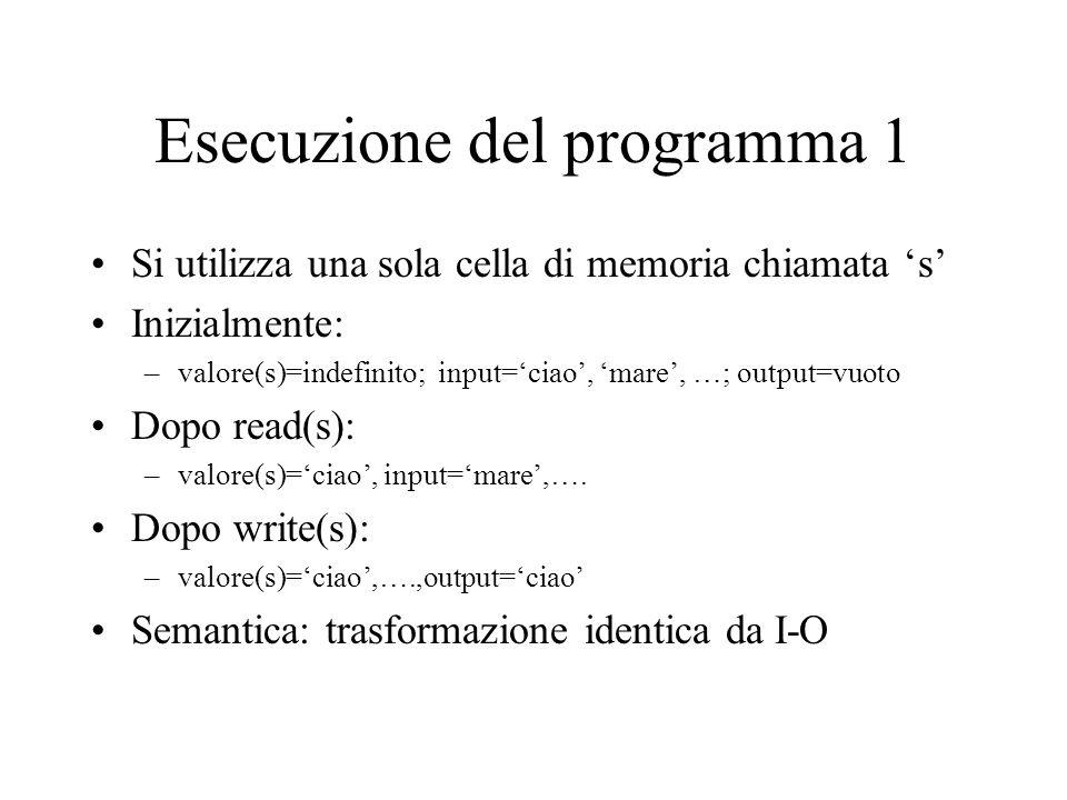 Esecuzione del programma 1 Si utilizza una sola cella di memoria chiamata 's' Inizialmente: –valore(s)=indefinito; input='ciao', 'mare', …; output=vuoto Dopo read(s): –valore(s)='ciao', input='mare',….