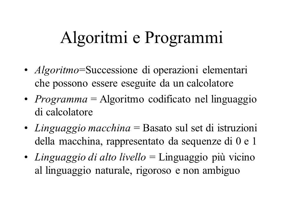 Algoritmi e Programmi Algoritmo=Successione di operazioni elementari che possono essere eseguite da un calcolatore Programma = Algoritmo codificato ne