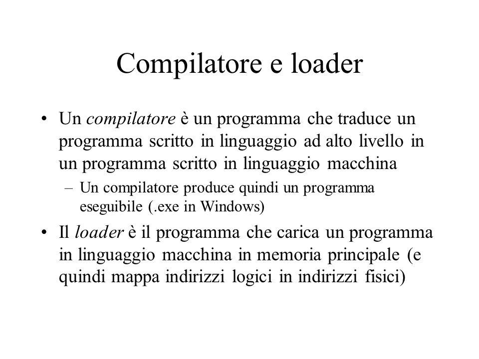 Compilatore e loader Un compilatore è un programma che traduce un programma scritto in linguaggio ad alto livello in un programma scritto in linguaggio macchina –Un compilatore produce quindi un programma eseguibile (.exe in Windows) Il loader è il programma che carica un programma in linguaggio macchina in memoria principale (e quindi mappa indirizzi logici in indirizzi fisici)