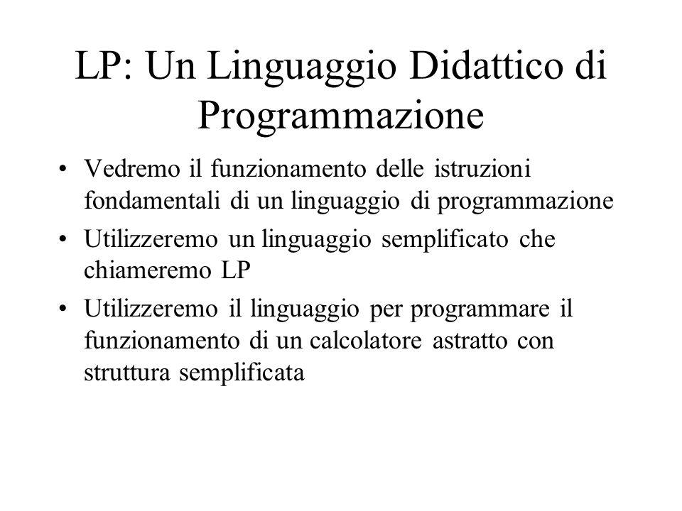 LP: Un Linguaggio Didattico di Programmazione Vedremo il funzionamento delle istruzioni fondamentali di un linguaggio di programmazione Utilizzeremo un linguaggio semplificato che chiameremo LP Utilizzeremo il linguaggio per programmare il funzionamento di un calcolatore astratto con struttura semplificata