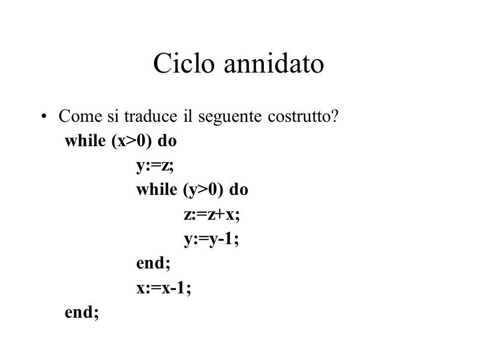 Ciclo annidato Come si traduce il seguente costrutto? while (x>0) do y:=z; while (y>0) do z:=z+x; y:=y-1; end; x:=x-1; end;