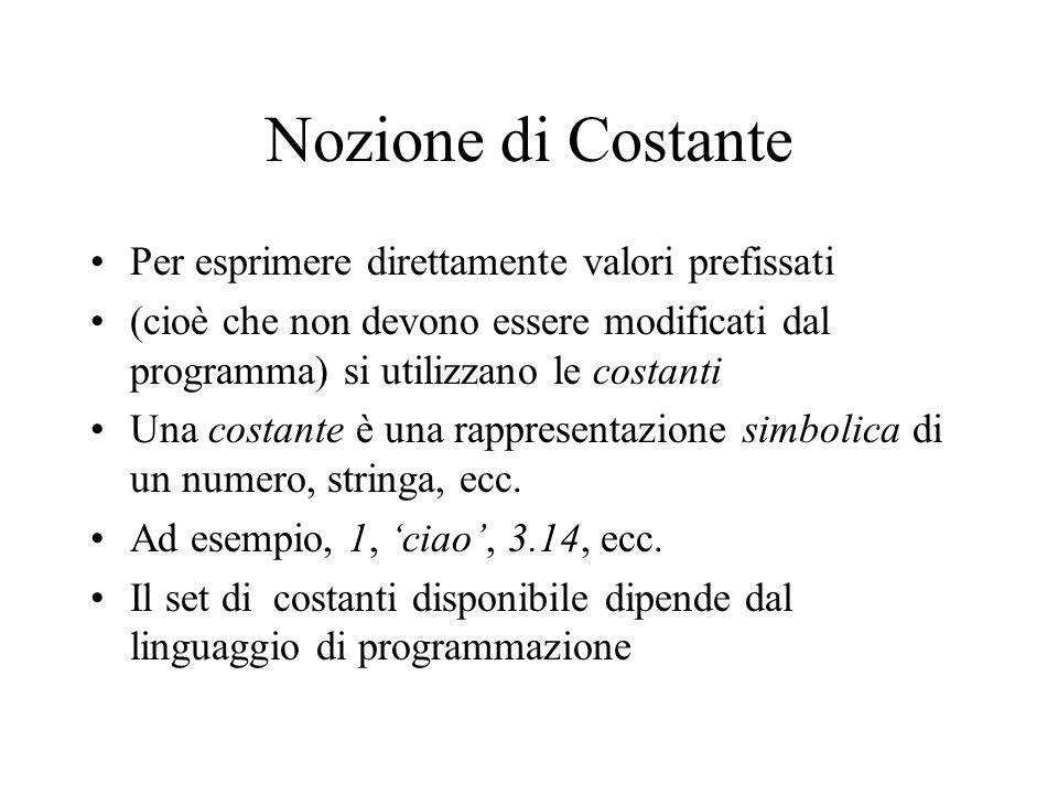 Nozione di Costante Per esprimere direttamente valori prefissati (cioè che non devono essere modificati dal programma) si utilizzano le costanti Una costante è una rappresentazione simbolica di un numero, stringa, ecc.