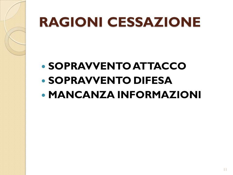 RAGIONI CESSAZIONE SOPRAVVENTO ATTACCO SOPRAVVENTO DIFESA MANCANZA INFORMAZIONI 11