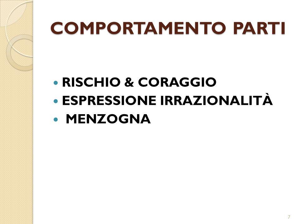 COMPORTAMENTO PARTI RISCHIO & CORAGGIO ESPRESSIONE IRRAZIONALITÀ MENZOGNA 7
