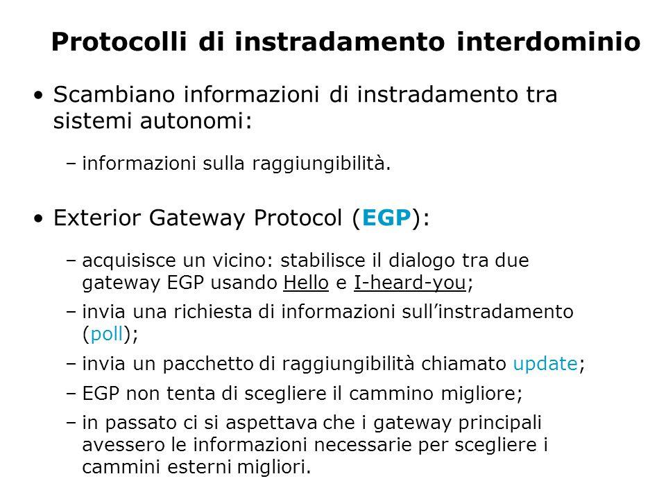 Protocolli di instradamento interdominio Scambiano informazioni di instradamento tra sistemi autonomi: –informazioni sulla raggiungibilità.