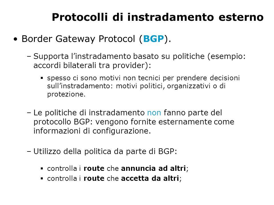 Protocolli di instradamento esterno Border Gateway Protocol (BGP). –Supporta l'instradamento basato su politiche (esempio: accordi bilaterali tra prov