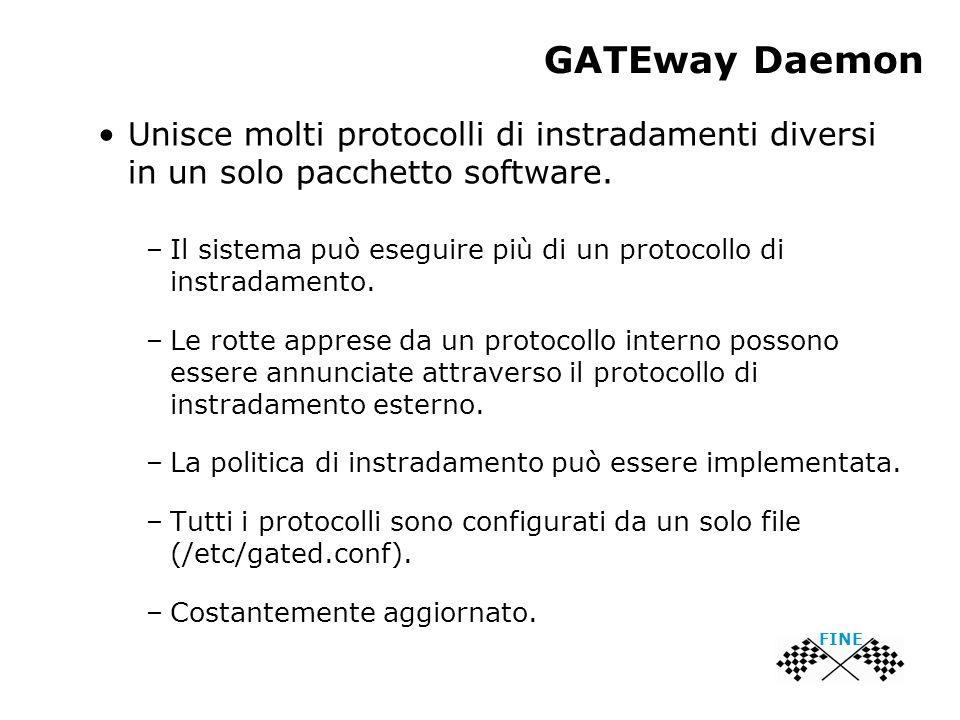 GATEway Daemon Unisce molti protocolli di instradamenti diversi in un solo pacchetto software. –Il sistema può eseguire più di un protocollo di instra