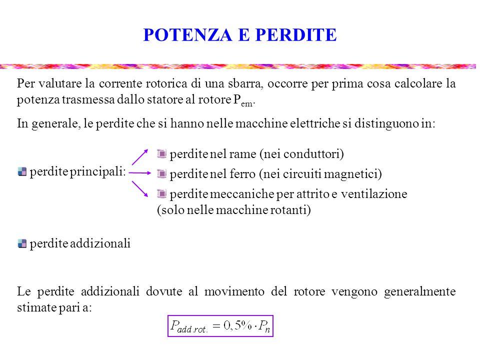 POTENZA E PERDITE Per valutare la corrente rotorica di una sbarra, occorre per prima cosa calcolare la potenza trasmessa dallo statore al rotore P em.