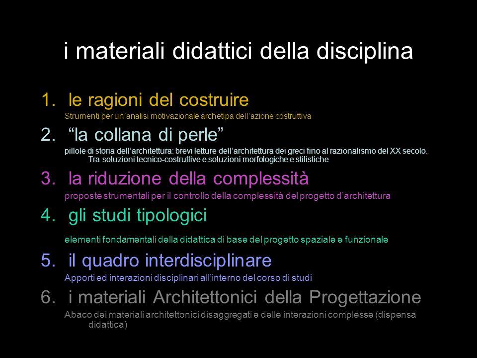 """i materiali didattici della disciplina 1.le ragioni del costruire Strumenti per un'analisi motivazionale archetipa dell'azione costruttiva 2.""""la colla"""