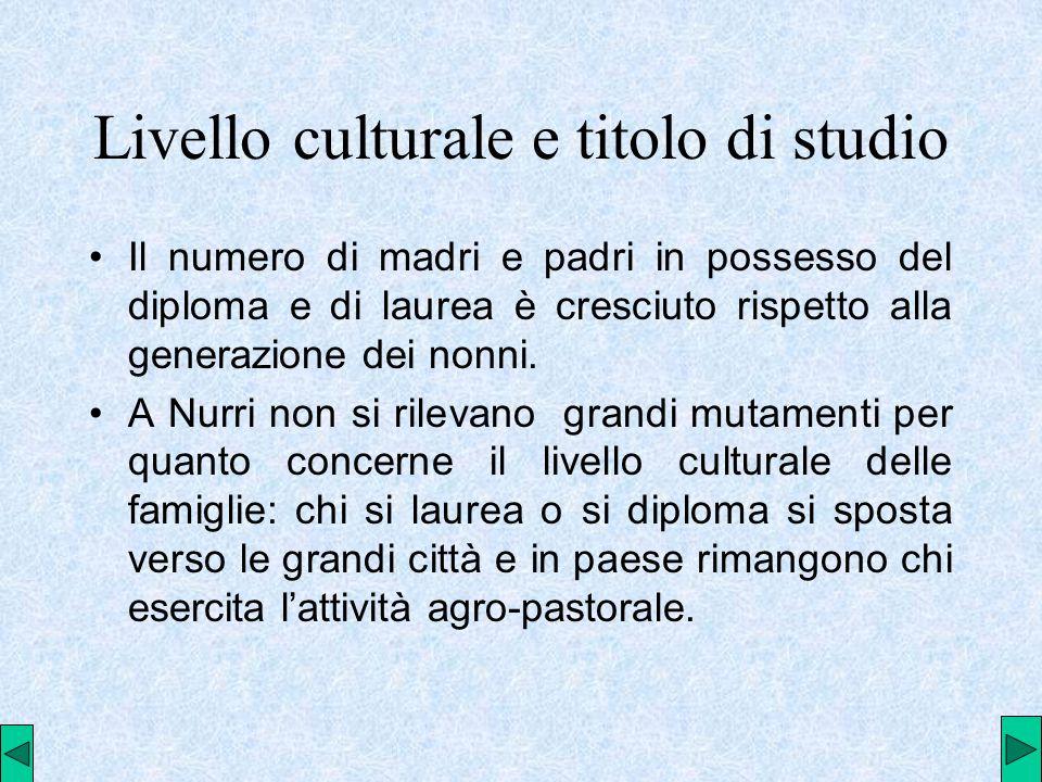 Livello culturale e titolo di studio Il numero di madri e padri in possesso del diploma e di laurea è cresciuto rispetto alla generazione dei nonni.