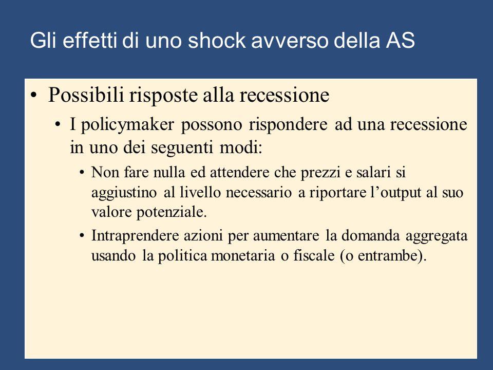 Gli effetti di uno shock avverso della AS Possibili risposte alla recessione I policymaker possono rispondere ad una recessione in uno dei seguenti modi: Non fare nulla ed attendere che prezzi e salari si aggiustino al livello necessario a riportare l'output al suo valore potenziale.