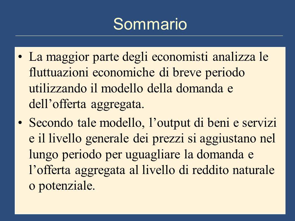 Sommario La maggior parte degli economisti analizza le fluttuazioni economiche di breve periodo utilizzando il modello della domanda e dell'offerta aggregata.