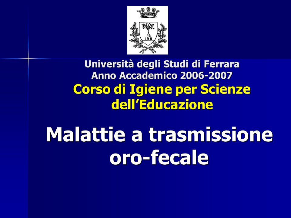 Università degli Studi di Ferrara Anno Accademico 2006-2007 Corso di Igiene per Scienze dell'Educazione Malattie a trasmissione oro-fecale