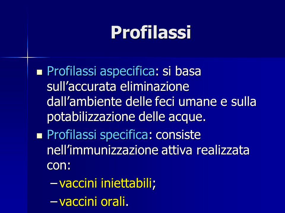 Profilassi Profilassi aspecifica: si basa sull'accurata eliminazione dall'ambiente delle feci umane e sulla potabilizzazione delle acque.