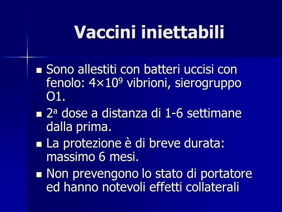 Vaccini iniettabili Sono allestiti con batteri uccisi con fenolo: 4×10 9 vibrioni, sierogruppo O1.