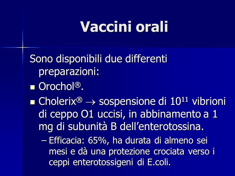 Vaccini orali Sono disponibili due differenti preparazioni: Orochol ®.
