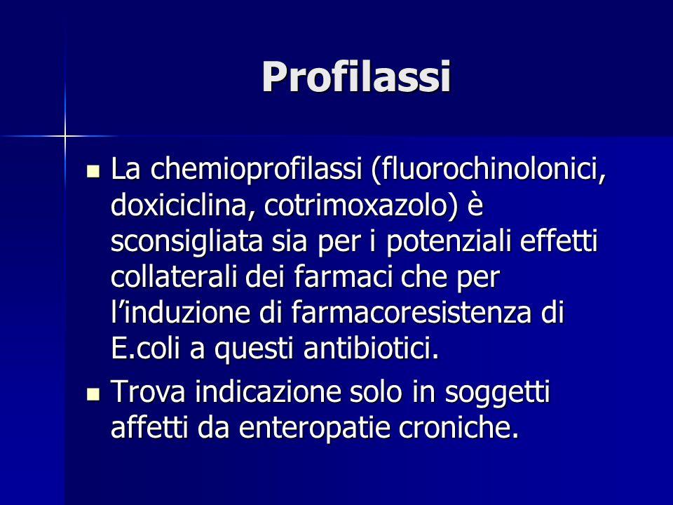 Profilassi La chemioprofilassi (fluorochinolonici, doxiciclina, cotrimoxazolo) è sconsigliata sia per i potenziali effetti collaterali dei farmaci che per l'induzione di farmacoresistenza di E.coli a questi antibiotici.