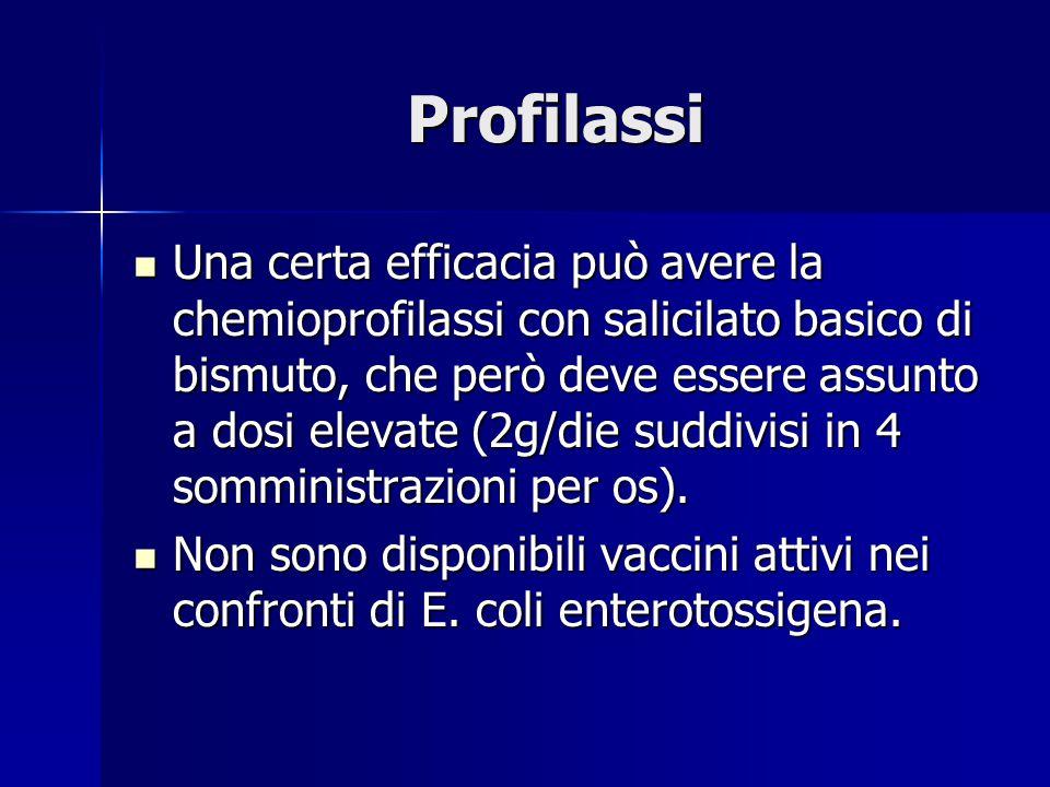 Profilassi Una certa efficacia può avere la chemioprofilassi con salicilato basico di bismuto, che però deve essere assunto a dosi elevate (2g/die suddivisi in 4 somministrazioni per os).