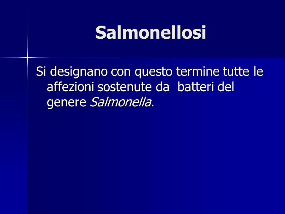 Salmonellosi Si designano con questo termine tutte le affezioni sostenute da batteri del genere Salmonella.
