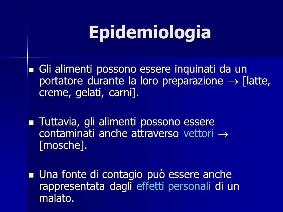 Epidemiologia Gli alimenti possono essere inquinati da un portatore durante la loro preparazione  [latte, creme, gelati, carni].
