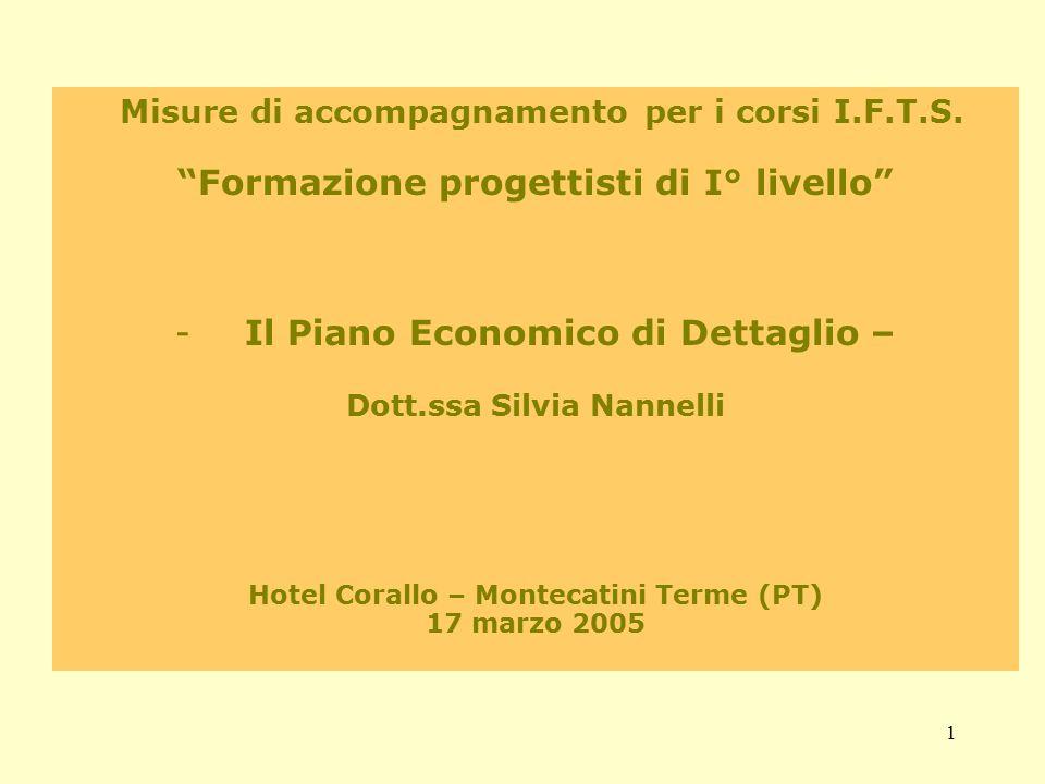 """1 Misure di accompagnamento per i corsi I.F.T.S. """"Formazione progettisti di I° livello"""" -Il Piano Economico di Dettaglio – Dott.ssa Silvia Nannelli Ho"""