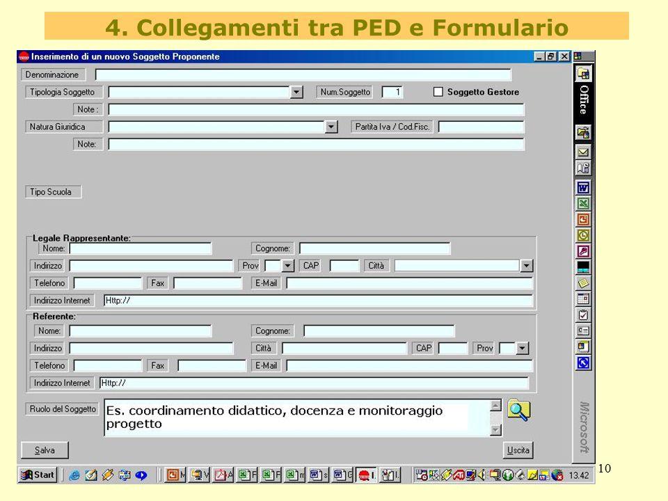 10 4. Collegamenti tra PED e Formulario