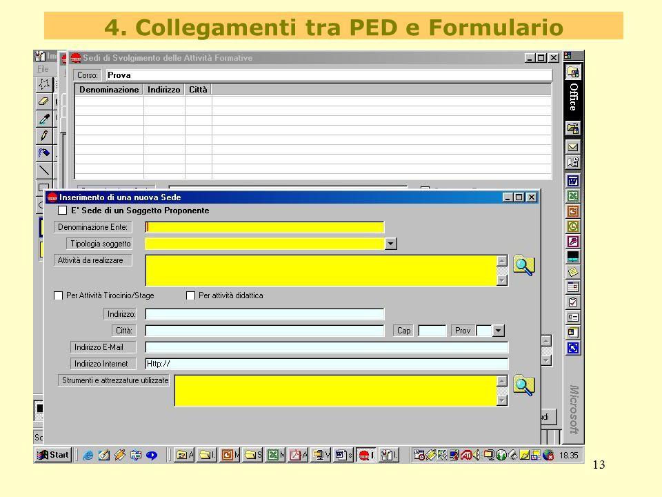 13 4. Collegamenti tra PED e Formulario
