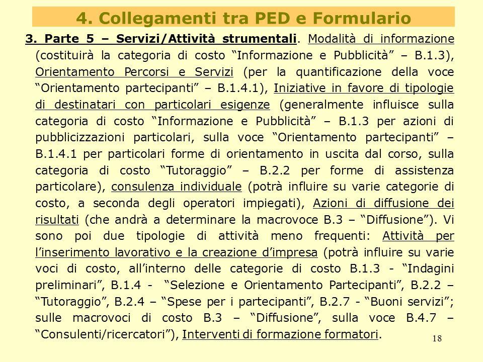 """18 4. Collegamenti tra PED e Formulario 3. Parte 5 – Servizi/Attività strumentali. Modalità di informazione (costituirà la categoria di costo """"Informa"""