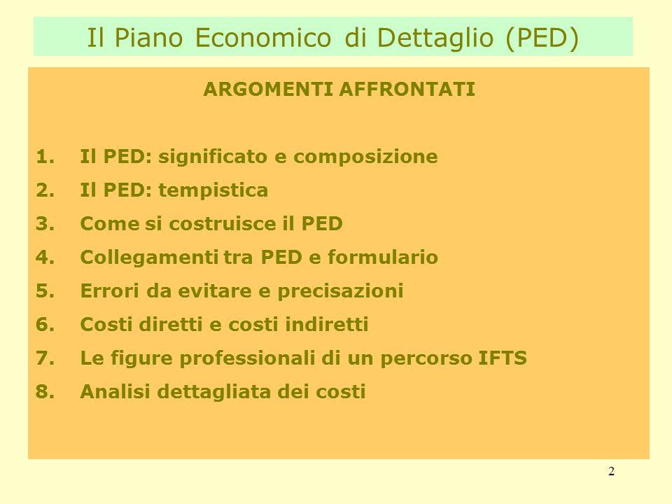 2 ARGOMENTI AFFRONTATI 1.Il PED: significato e composizione 2.Il PED: tempistica 3.Come si costruisce il PED 4.Collegamenti tra PED e formulario 5.Errori da evitare e precisazioni 6.Costi diretti e costi indiretti 7.Le figure professionali di un percorso IFTS 8.Analisi dettagliata dei costi Il Piano Economico di Dettaglio (PED)