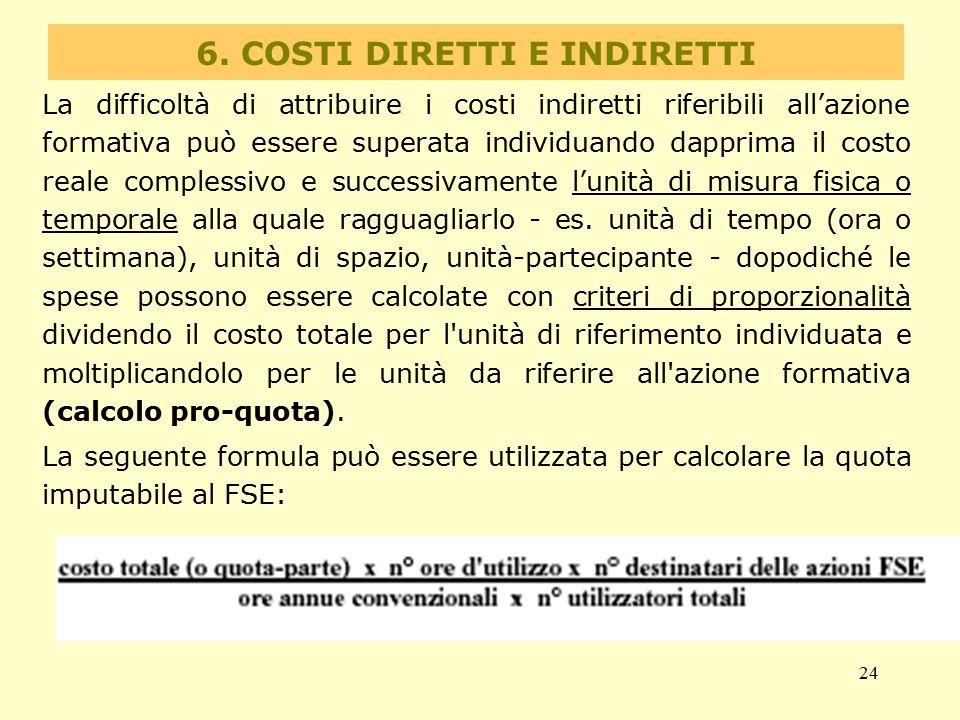 24 6. COSTI DIRETTI E INDIRETTI La difficoltà di attribuire i costi indiretti riferibili all'azione formativa può essere superata individuando dapprim