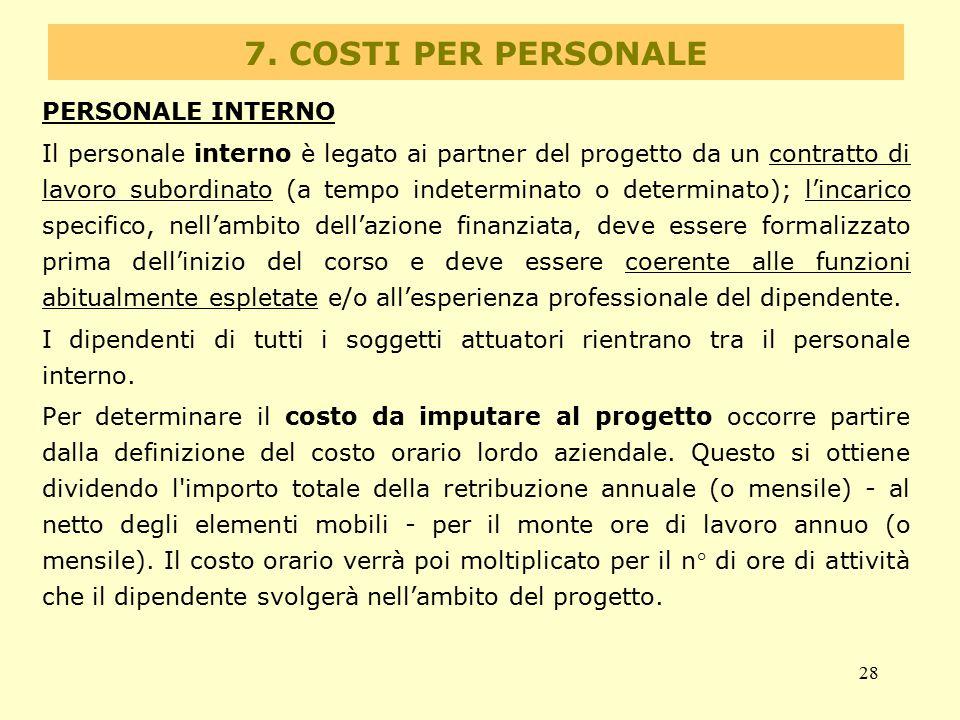 28 7. COSTI PER PERSONALE PERSONALE INTERNO Il personale interno è legato ai partner del progetto da un contratto di lavoro subordinato (a tempo indet