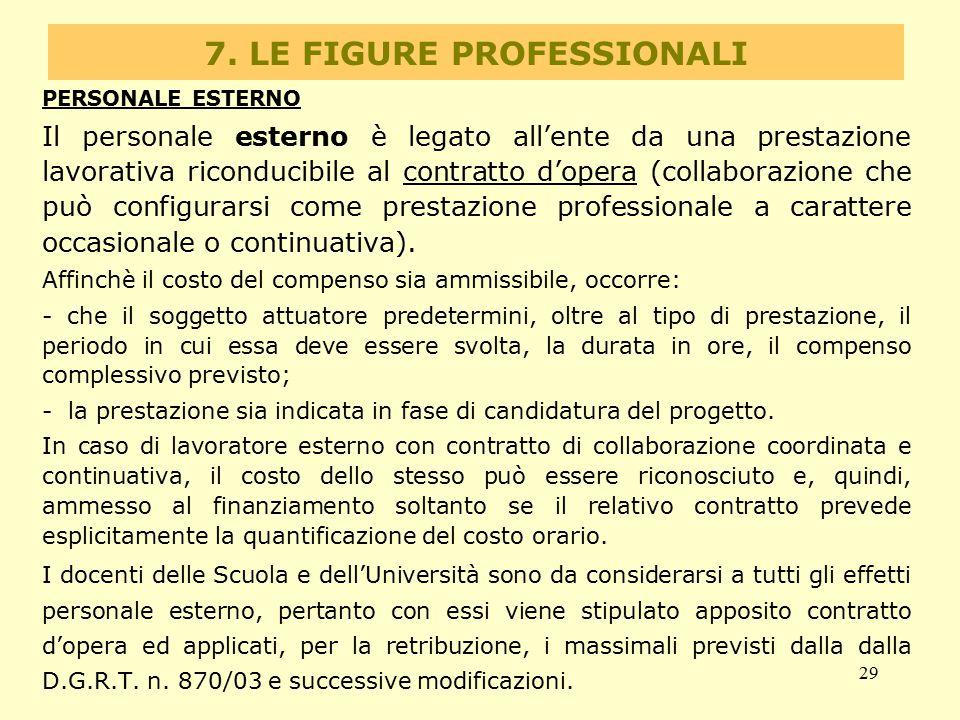 29 7. LE FIGURE PROFESSIONALI PERSONALE ESTERNO Il personale esterno è legato all'ente da una prestazione lavorativa riconducibile al contratto d'oper