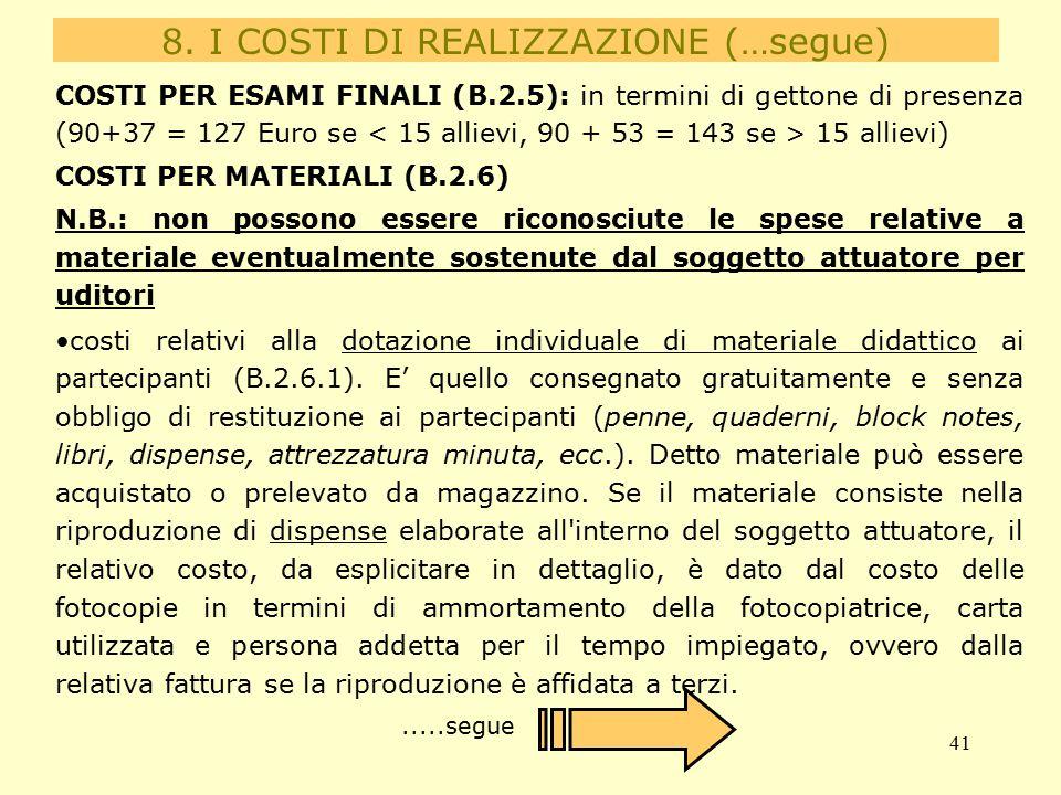 41 COSTI PER ESAMI FINALI (B.2.5): in termini di gettone di presenza (90+37 = 127 Euro se 15 allievi) COSTI PER MATERIALI (B.2.6) N.B.: non possono essere riconosciute le spese relative a materiale eventualmente sostenute dal soggetto attuatore per uditori costi relativi alla dotazione individuale di materiale didattico ai partecipanti (B.2.6.1).