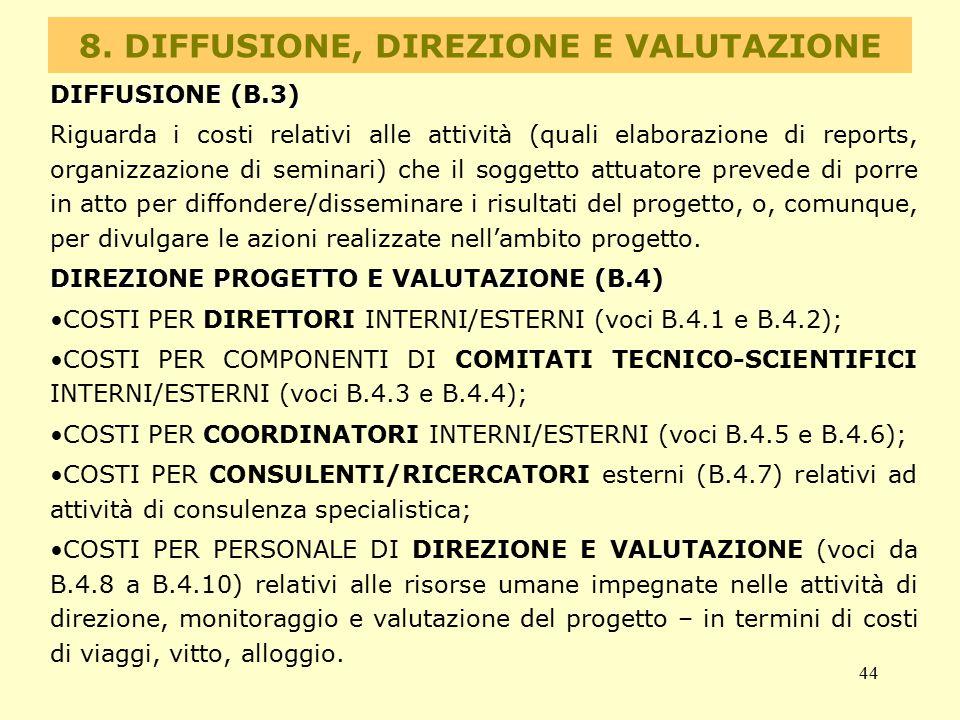 44 8. DIFFUSIONE, DIREZIONE E VALUTAZIONE DIFFUSIONE (B.3) Riguarda i costi relativi alle attività (quali elaborazione di reports, organizzazione di s