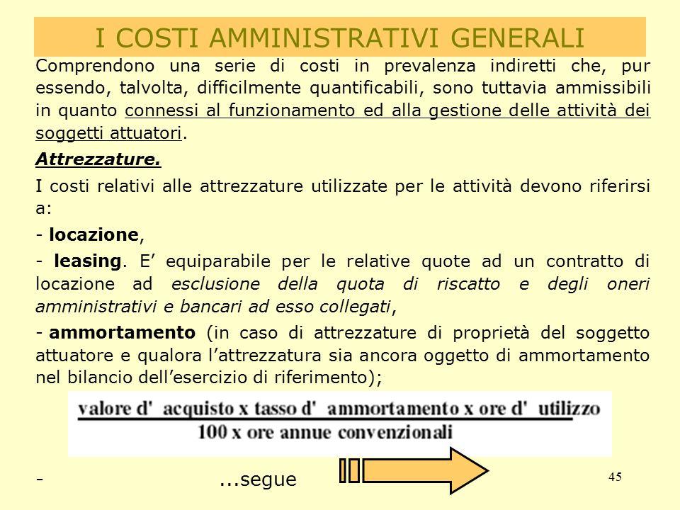 45 I COSTI AMMINISTRATIVI GENERALI Comprendono una serie di costi in prevalenza indiretti che, pur essendo, talvolta, difficilmente quantificabili, so