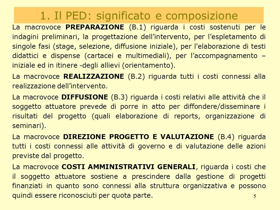 5 1. Il PED: significato e composizione La macrovoce PREPARAZIONE (B.1) riguarda i costi sostenuti per le indagini preliminari, la progettazione dell'